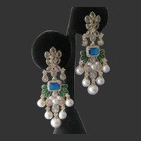 Dangling Pearls & Clear Stones & Enamel Chandelier Earrings