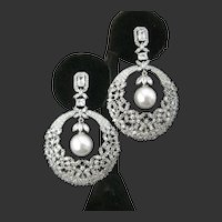 Gorgeous Zillions Of Openback Cz clear Stones Large Pearl Drop Earrings