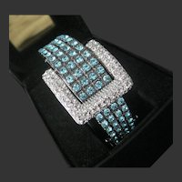 Gorgeous Aqua & Clear Rhinestones Buckle Cuff Bracelet