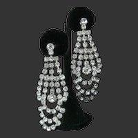 "1930s Screwback Clear Rhinestones 3"" Dangling Earrings"