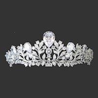 Stunning Glass & Rhinestones Covered Tiara Crown Headpiece