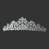 Openback Clear Glass Stones Floral Design Tiara Crown