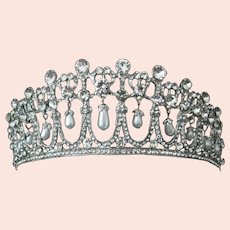 Dangling Pearls & Rhinestones Gorgeous Tiara Crown Brides Bridal Party Wedding
