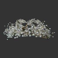 Stunning Handmade Tiara Clustered Pearls & Small Flowers With Rhinestones & Leafs Crown Bride, Prom, Princess, Wedding