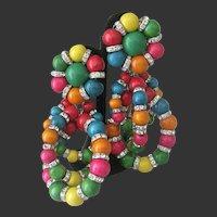 Julie Rubano Beads & Rhinestone Rondelles Triple Rings Dangling Earrings