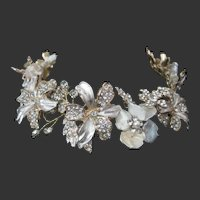 Rhinestones Enamel & Shell Flowers Hand Made Ornate Tiara Crown Headband