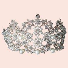 Unique Pearls & Rhinestones Large Crown Tiara Intricate Beautiful Piece
