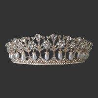 Dangling Pearls Gold Tone & Rhinestone Tiara Crown Brides Weddings Parties
