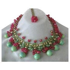 Heavy Light Green & Raspberry Dangling Glass Beads Necklace Vintage JULIE RUBANO