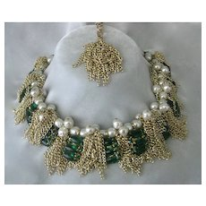 Green Glass Gold Chains & Pearls Couture Bib Necklace By Julie Rubano