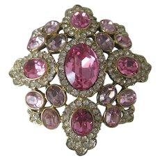 KENNETH LANE Stunning Large Pinks & Lavender Glass Vintage Pin / Pendant