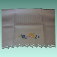 """Vintage Hand Embroidered """"Guest"""" Towel"""