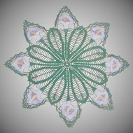 Vintage Hand Crocheted Calla Lily Doily