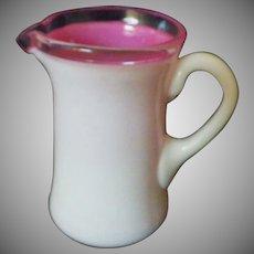 Rare Early Vintage Fenton Rose Wave Crest Glass Miniature Pitcher