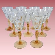 Hard to Find Vintage Set of 9 Fostoria Loop Optic Cordial or Liqueur Glasses