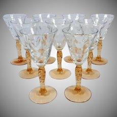 Hard to Find Vintage Set of 9 Fostoria Loop Optic Cordial or Liqueur Glasses