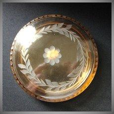 Rare Vintage Fostoria Amber Glass Covered Puff Box
