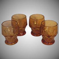 Vintage Set of Cambridge Amber Glass Georgian Tumblers