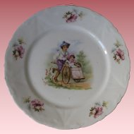 Victorian Porcelain Transfer Plate with Boy & Girl Children