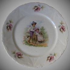 Victorian Porcelain Transfer Plate with Boy & Girl Children