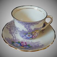 Hard to Find Vintage Hand Painted Primrose Cup & Saucer Set