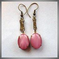 Vintage Pink Czech Glass & Brass Dangle Earrings