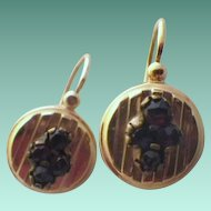 Antique Victorian 14 K Gold & Garnet Earrings