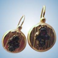 Antique Victorian 14 K Gold & Garnet Earrings