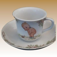 Rare Antique Hand Painted Kewpie Demitasse Cup & Saucer Set
