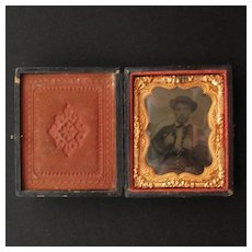 Civil War Era Papier Mache Case with Tin Type