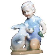 """Rare Vintage Signed """"Blue Danube"""" Girl with Rabbit Porcelain Figurine"""