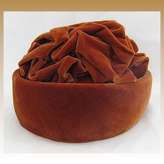 Vintage Irene of New York Rust Velvet Cloche Ladies Hat