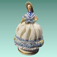 Vintage Signed Muller & Co. Dresden Porcelain Lace Lady Figurine