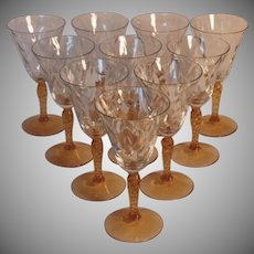 Hard to Find Vintage Set of 10 Fostoria Loop Optic Port or Sherry Glasses