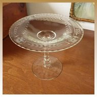 Vintage Cut & Etched Clear Glass Compote