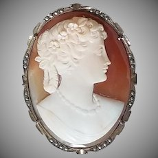 Antique 800 Silver Shell Cameo with Marcasites