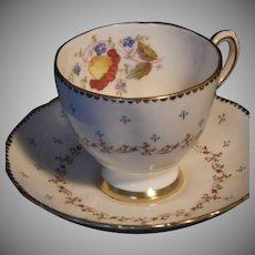 Scarce Vintage Handpainted Tuscan Bone China Cup & Saucer