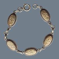 Vintage Etched Oval Link Bracelet