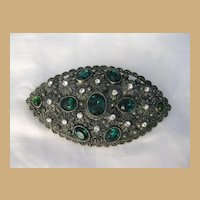 Vintage Signed Large New England Green & White Glass Rhinestone Brooch