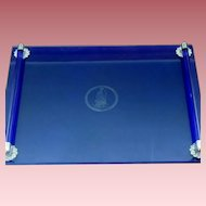 Vintage Art Deco Style Cobalt Blue Glass Vanity Tray