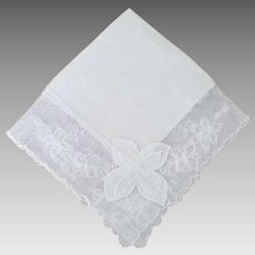Vintage White Linen and Lace Bride Handkerchief