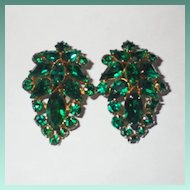 Vintage Emerald Green Rhinestone Earrings