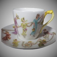 Rare Antique Handpainted and Dated Haviland Demitasse Cup &  Saucer