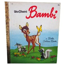 "Vintage Children's Little Golden Book - ""Walt Disney's Bambi"""