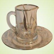 Vintage Silver Deposit Crystal Glass Pitcher & Underplate