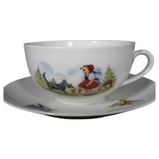 Very Rare Gareis Kuhnl Co Red Riding Hood Cup and Saucer