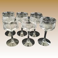 Vintage Set of Six Heisey Glass Cordials