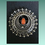 Vintage Signed Sterling Silver & Coral Cannetille Brooch or Pendant