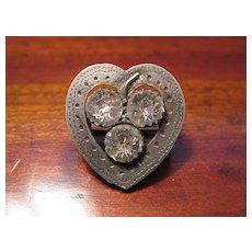 Antique Victorian Hallmarked Sterling Silver Sweetheart Heart Brooch