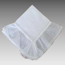 Vintage Drawn-work and Net Edge Bride Handkerchief